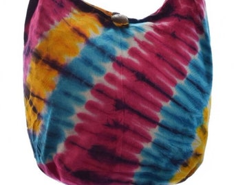 Cotton Tie Dye shoulder bag. Messenger,Hippie, Gypsy Sling,Hippy, Hobo, Crossbody, Monk, Alms, Beach.