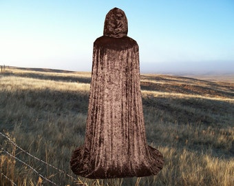 Brown Cloak Cape Velvet Hooded Renaissance Gothic Medieval Wedding Costume