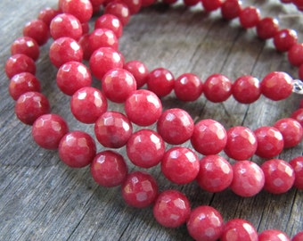 6mm JADE Beads in Pomegranate Red, Faceted, Round, Full Strand, 62 Pcs, Gemstones, Red Gemstone Beads