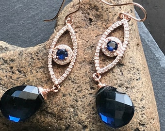 Rose Gold, Crystal and Kyanite Quartz Dangles, Bridal, Domenica Collection