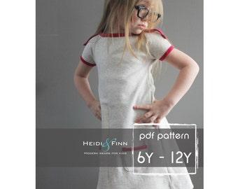 Patrón PlayDay vestido PDF y tutorial 6-12 fácil coser túnica vestido jumper