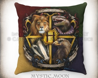 Welcome Home Throw Pillow / Potter Gift / Nerd Gifts / Wizard / Witchcraft / School / Potter Decor / warts