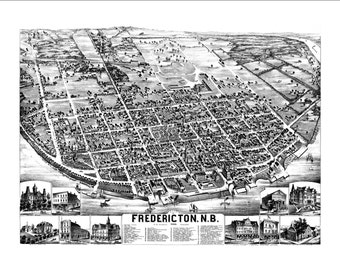 """Fredericton New Brunswick in 1882 Panoramic Bird's Eye View Map by A. Hubly 22x17"""" Reproduction"""