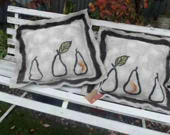 Merino Felted Wool Cushions  'Pears'