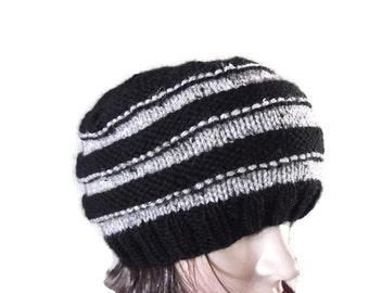 Hand Knit Black and Grey STRIPED BERET BEANIE Toque Hat, Unique Striped Winter Beanie Hat