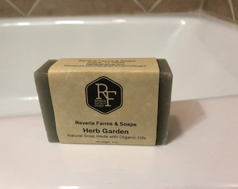 Herb Garden Soap - Natural & Made with Organic Oils - Organic Soap - All Natural - Vegan - Cruelty Free - Handcrafted - Rosemary