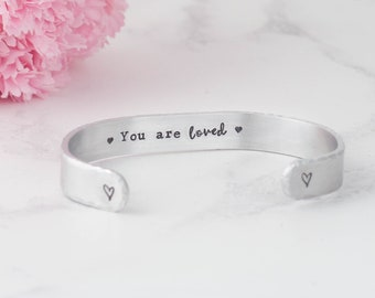 You are loved bracelet, hand stamped bracelet, I love you bracelet, love bracelet, daughter gift, best friend gift, love gift, handstamped