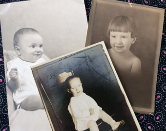 Children Babies Sepia Black & White Photograph Lot 1910-1940