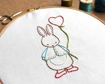 Hand Embroidery Pattern - Some Bunny Loves You - PDF Download