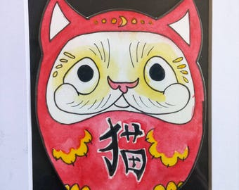 Neko Daruma Original Watercolor Painting || 5 x 7 inches || One of a kind || Japanese inspired art || Original watercolor painting