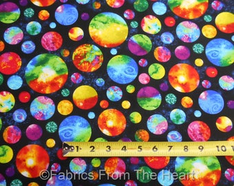 Planets Solar System Space Bright Neon on Black BY YARD Timeless Treasure Fabric