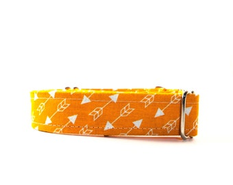 Orange and White Arrow Dog Collar - Buckle or Martingale