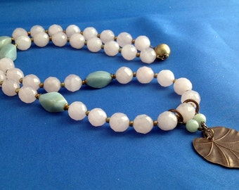 Rose Quartz faceted stone necklace with Amazonite twists and brass accents and heart shaped leaf pendant