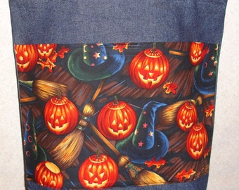 New Handmade Large Halloween Witch Broom Pumpkin Denim Tote Bag
