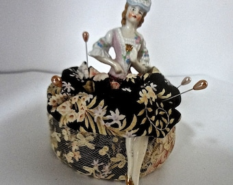 Antique German Half Doll Period Lady With Legs On Pin Cushion Or Ring Caddy