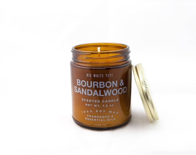 Bourbon + Sandalwood Soy Candle- 9oz Amber Jar