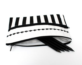 Cute Striped Pencil Case/ Makeup Bag 19cm x 11.5cm With Two Black Zippers and Embroidery