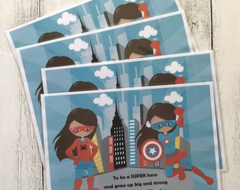 Little Girl Superhero in Blue - Placemat for High Chair