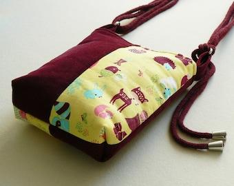 kid's bag, kid's small corduroy shoulder bag in burgundy colour, small claret bag, girl's shoulder bag, bag with forest animals motif