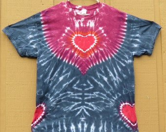 X Large Tie Dye Shirt with Hippy Hearts