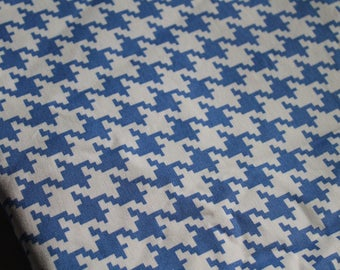 Destash Fabric, home decor weight Houndstooth | Blue and Cream | For Your Home by Vicki Payne