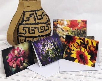 """Four Flowers. A Set of Eight Beautiful 7'x5"""" Blank, Bi-fold Note Cards"""