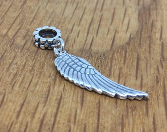 Fine Silver Angel wing charm, angel wing pandora-style charm, angel wing dangle charm, silver, angel, wing, bracelet, charm, pure silver