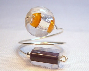 Adjustable Sterling Silver Mirano Glass Ring