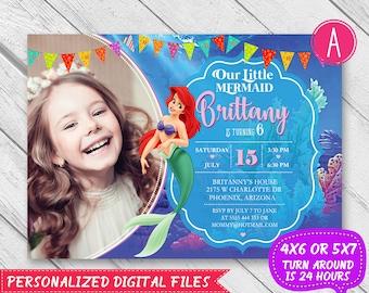 Little Mermaid invitation - Little Mermaid birthday - Little Mermaid Invite - Mermaid Birthday Invitation - Under the sea invitation - Ariel