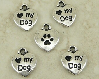 5 TierraCast Love My Dog Heart Charms > Doggy Puppy Canin Companion - Silver-plated Lead Free Pewter - I ship Internationally  2200