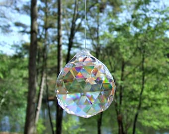 5 Asfour 20mm Full Lead Faceted Crystal Prism Ball, Sun Catcher, Feng Shui Crystal Prism ,Crystal Ornament, Wedding Decoration