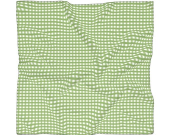Green Gingham Poly Scarf