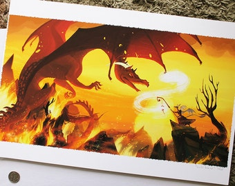 """13x19""""Sunfall Inferno fire dragon fight LIMITED EDITION print"""