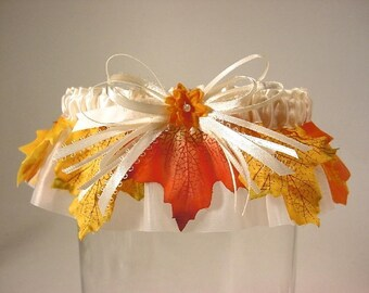 FALL BRIDE a PETERENE  Wedding Garter for AUTUMN or HOMECOMING