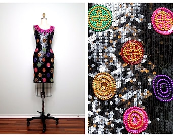 80's Party Beaded Sequin Dress / Pink Purple Black Gold Sequined Dress Small XS