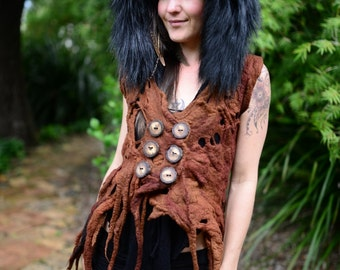 SALE was 521USD- Felt Melted Shaman Dryad Vest-Princess Of The Wolves Fur Trimmed Pixie Pointed Hood-Woodland Nymph Vest-Druid Cosutme OOAK