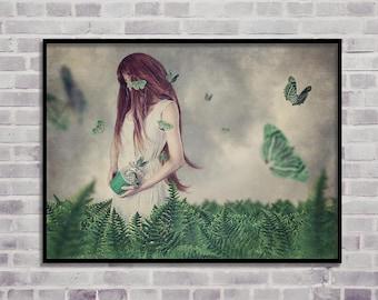 green butterflies print, woman print art, digital print, home decor print, wall art prints, green ferns print, girl modern art