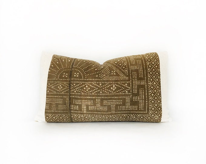 Vintage Brown Chinese Batik And African Mudcloth Lumbar Pillow Cover 14x24