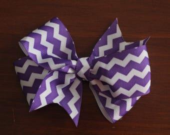 Purple and white chevron bow clip