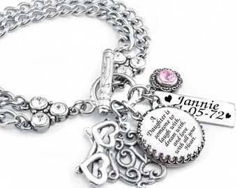 Personalized Mother Daughter Bracelet with choice of Birthstones and engraved charm Handcrafted in stainless steel