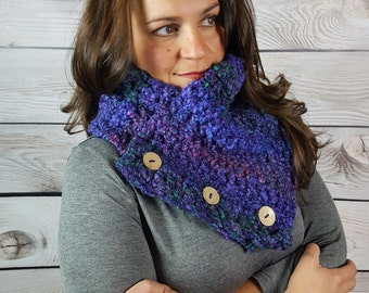 Purple Boston Harbor Scarf, Crochet Chunky Scarf, Circle Scarf, Handmade Cowl Scarf- Purple with Multicolors and 3 buttons