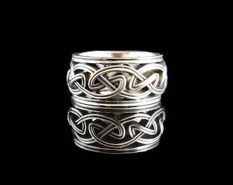 DROGHEDA Celtic Knot Wedding Band Open Weave 14KT White Gold