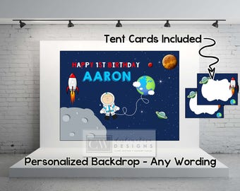Outer Space Theme - Rockets and Spaceships - Aliens - Planets Party Decorations - Printable Backdrop Poster + BONUS LABELS