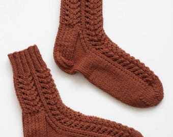 Hand-knitted Wool Socks BROWN CLOWN By VidaFelt - Size 38-39 - Free Shipping!