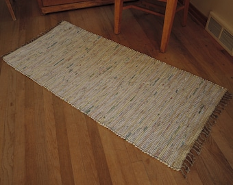 "Hand Woven Rag Rug Soft Yellow Denim 26"" x 58"""