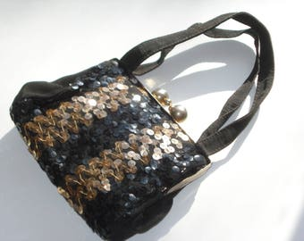 Vintage Black Sequin Flapper Purse - Small Evening Handbag - Retro Fashion Accessory 1930s