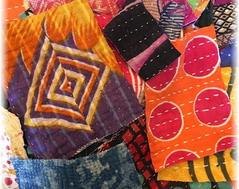 Vintage Kantha Quilt Scrap Pack for Mixed Media, Collage, Fiber Arts!