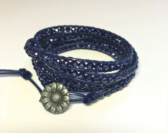 Leather Wrap Bracelet in Navy Czech Crystals