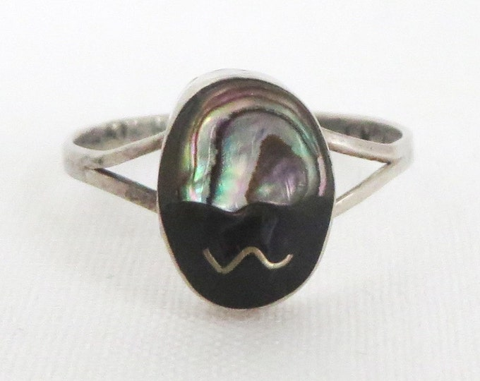 Onyx & Abalone Ring - Vintage Mexican Sterling Silver Ring