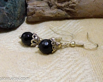 Faceted Black Agate Silver Dangle Earrings
